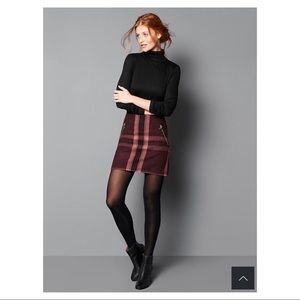 GAP Plaid Wool Mini Skirt Burgundy Maroon Pink